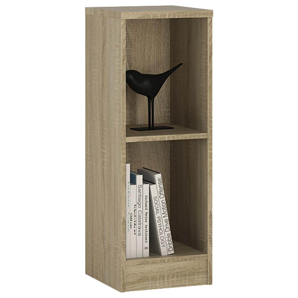 4 You Low Narrow Bookcase in Sonama Oak/Pearl White/Canyon Grey