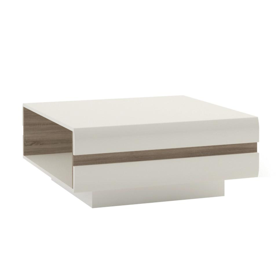 Chelsea Living Large Designer Coffee Table in white with an Truffle Oak Trim