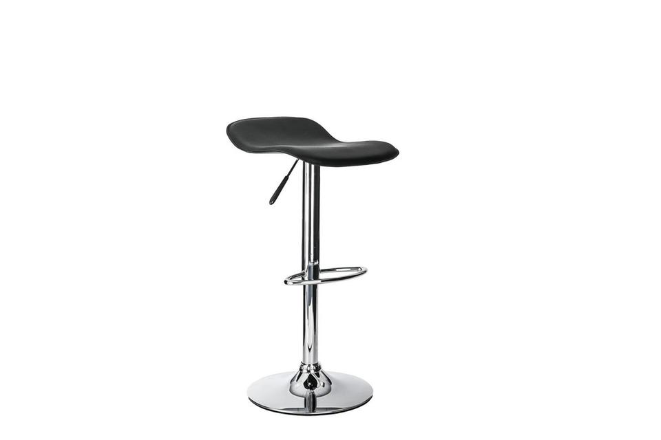 Omar Low Back Leather & Chrome Barstool