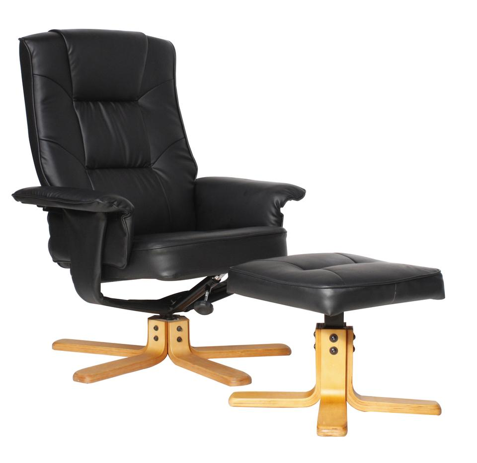 Dumont Faux Leather Reclining Chair With Footstool