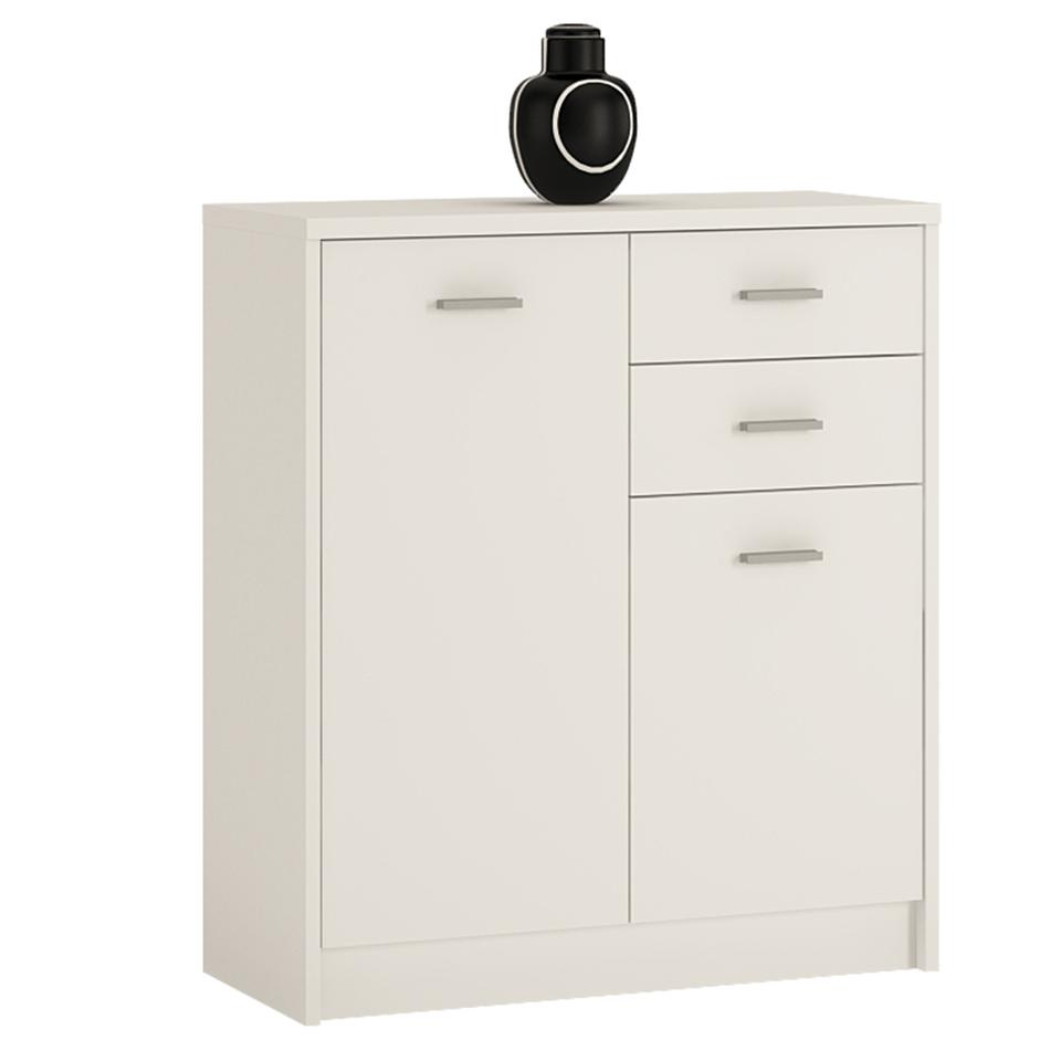 4 You 2 Door 2 Drawer Cupboard in Sonama Oak/Pearl White/Canyon Grey and White