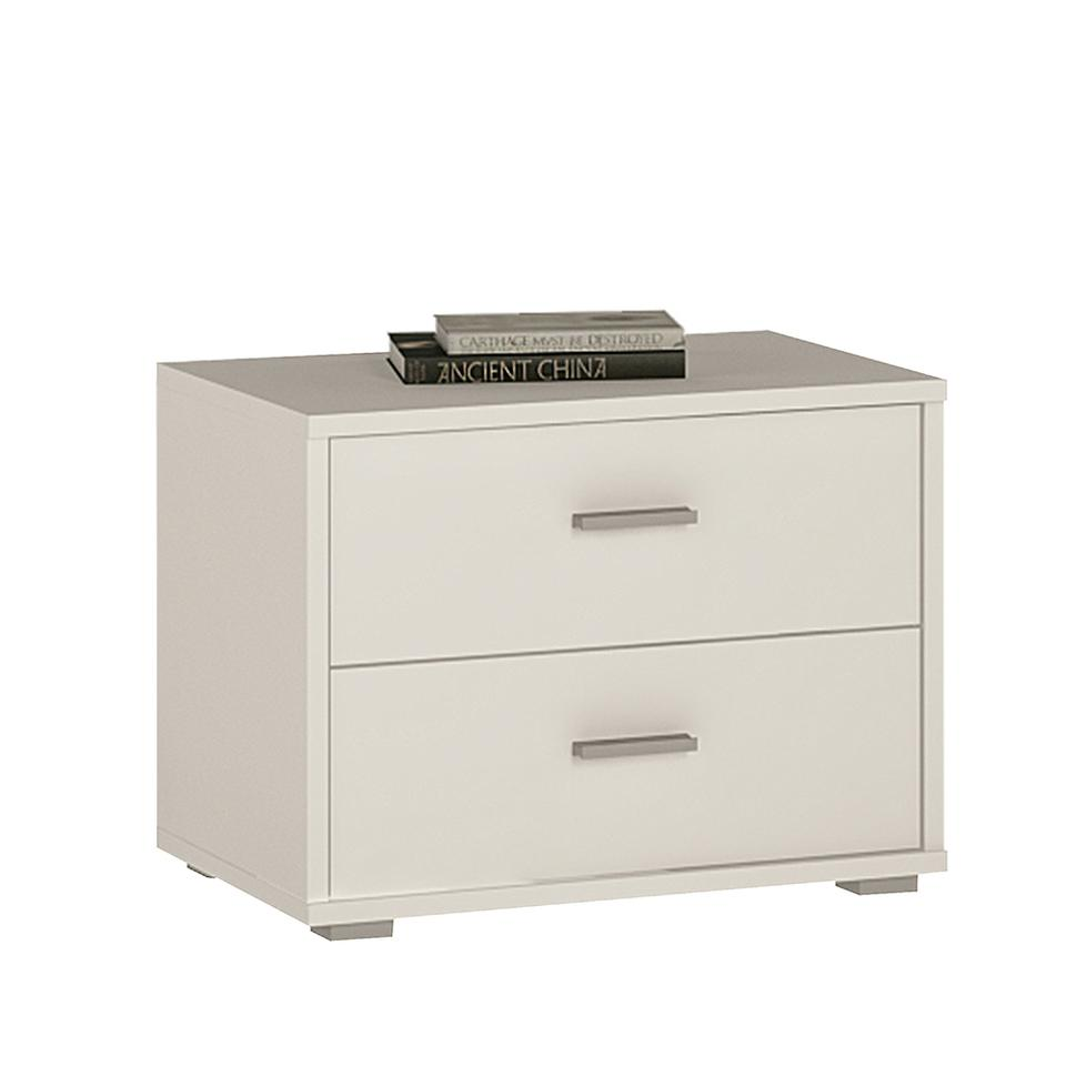 4 You 2 Drawer low chest/ Bedside in Sonama Oak/Pearl White/Canyon Grey and White