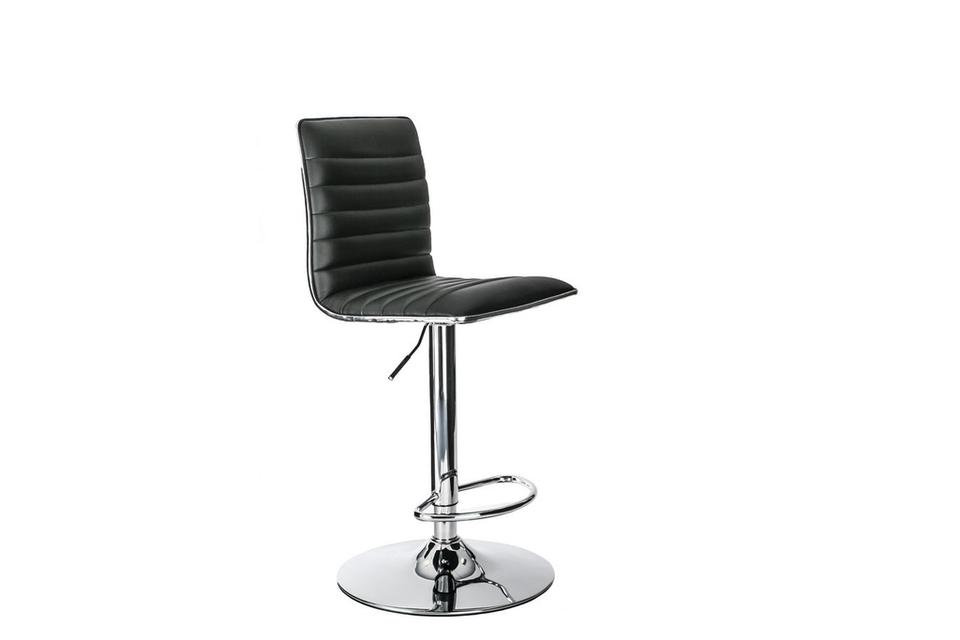 Cole High Back Faux Leather & Chrome Barstool