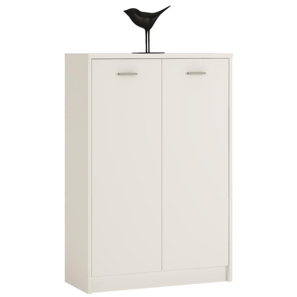 4 You Tall 2 Door Cupboard in Sonama Oak/Pearl White/Canyon Grey and White