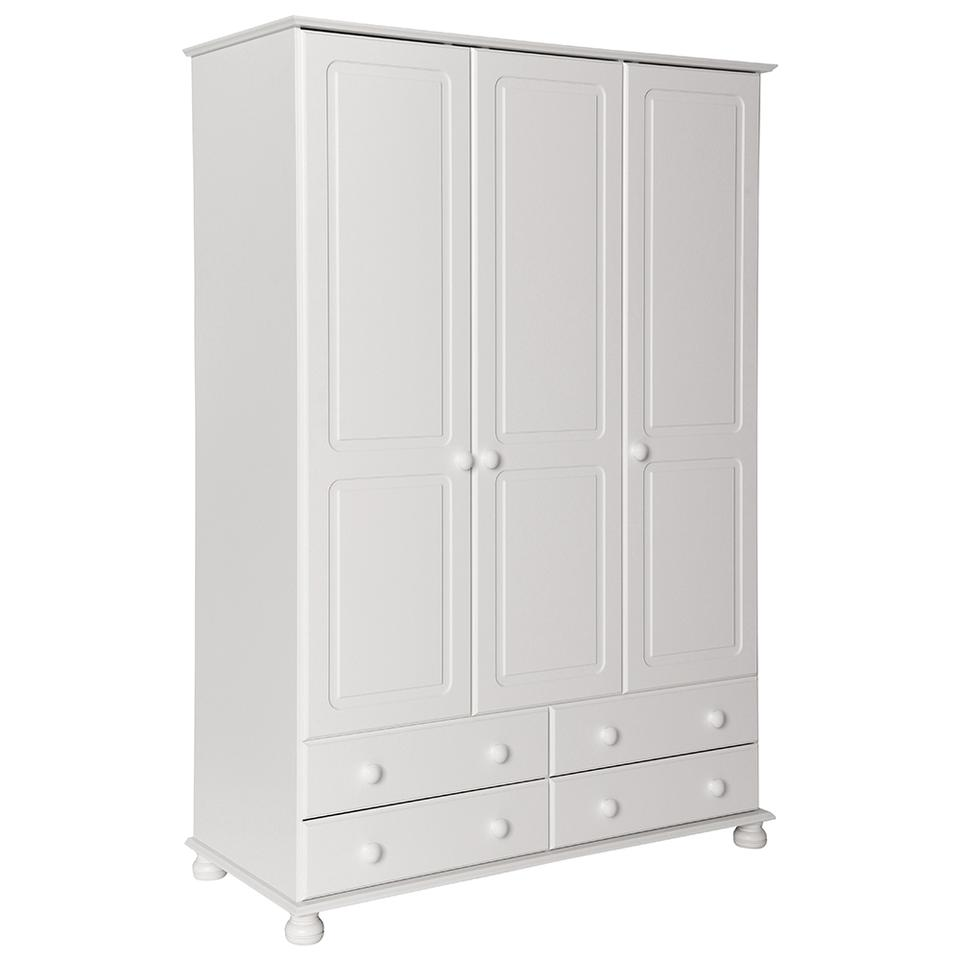 Copenhagen 3 Door 4 Drawer Wardrobe in Pine/White/Cream and Pine