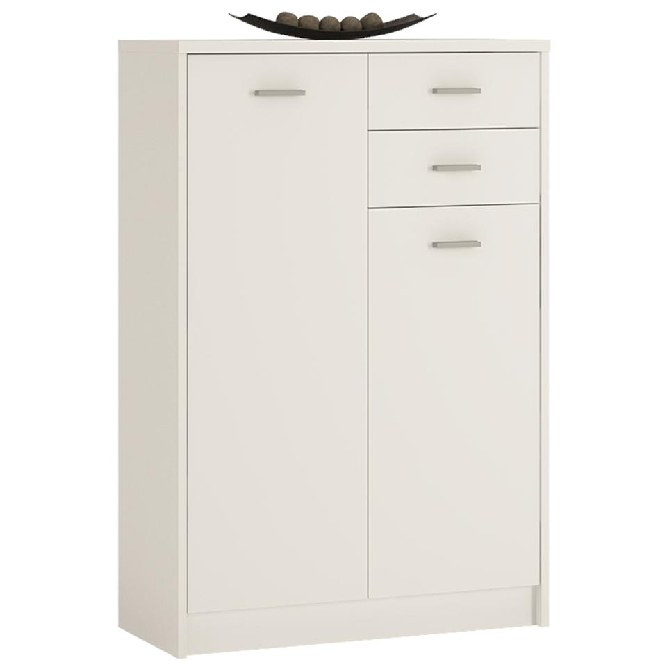 4 You Tall 2 door 2 drawer cupboard in Sonama Oak/Pearl White/Canyon Grey and White