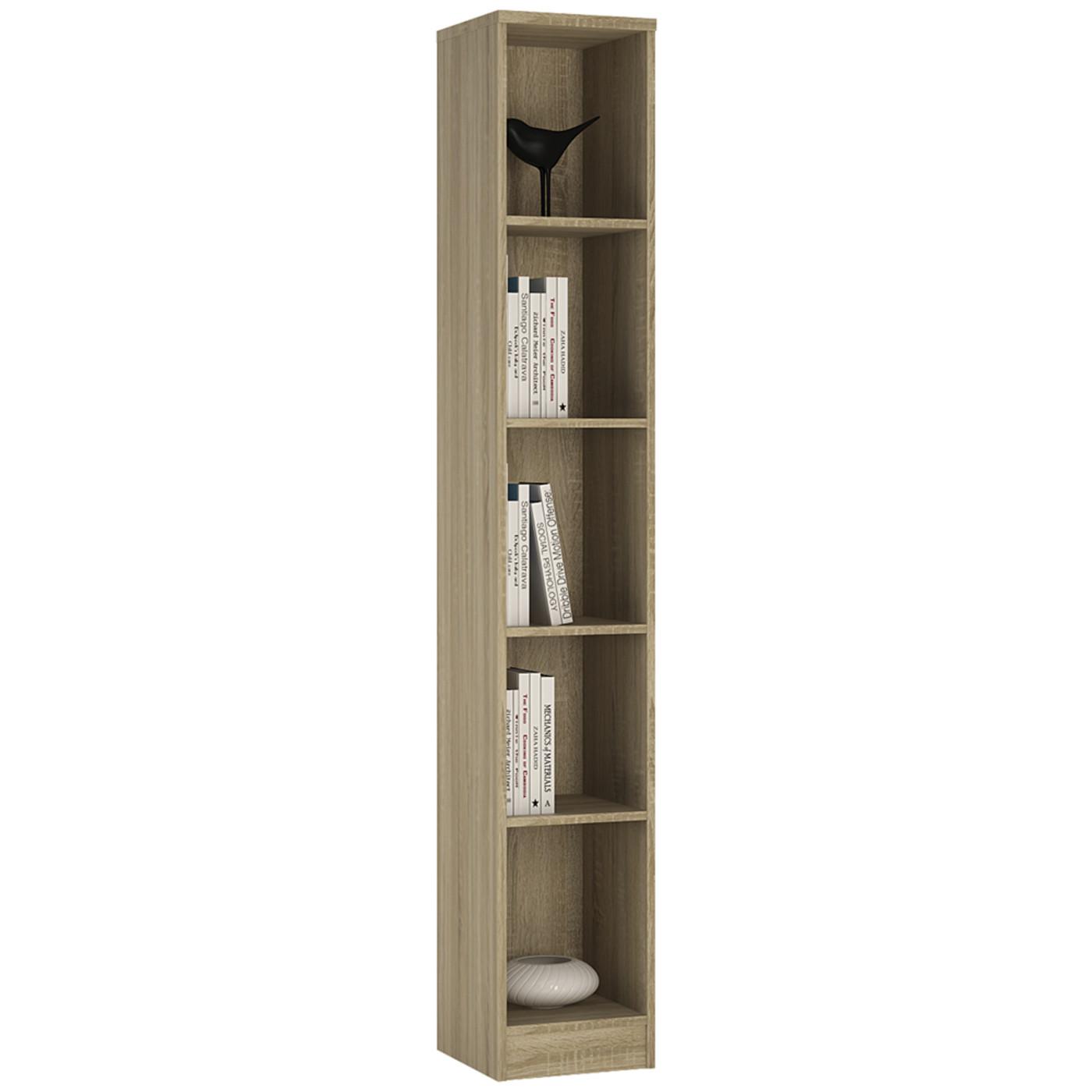 4 You Tall Narrow Bookcase In Sonama Oak Pearl White Canyon