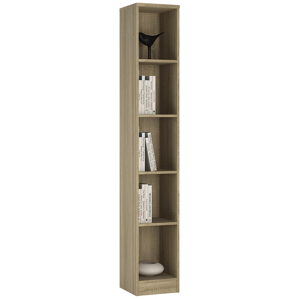 4 You Tall Narrow Bookcase in Sonama Oak/Pearl White/Canyon Grey