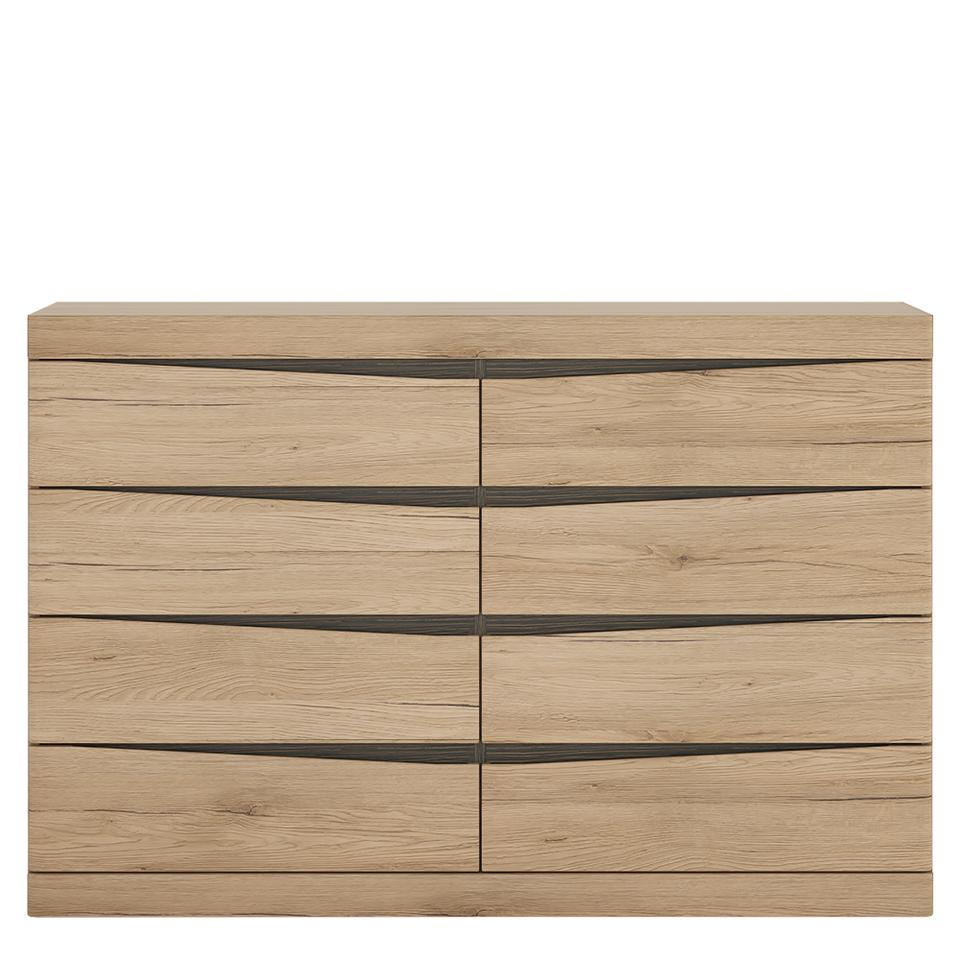 Kensington 4 + 4 Wide Chest of Drawers in Oak