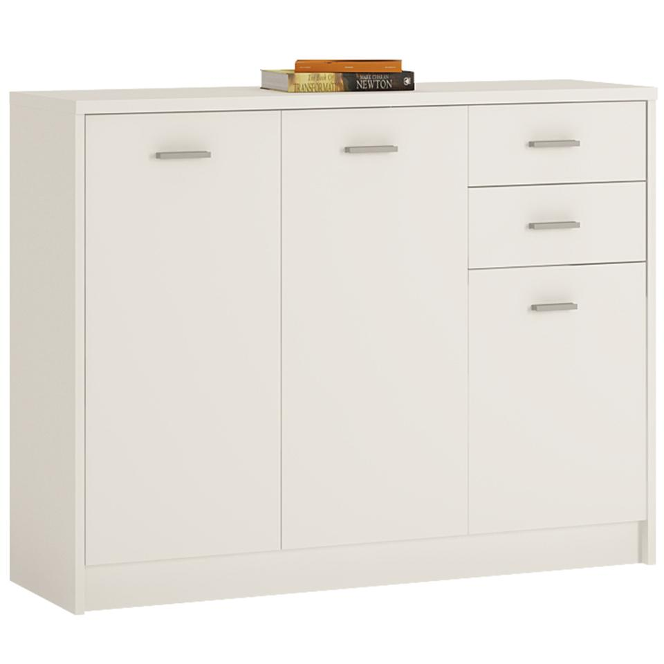 4 You 3 Door 2 Drawer Wide Cupboard in Sonama Oak/Pearl White/Canyon Grey and White